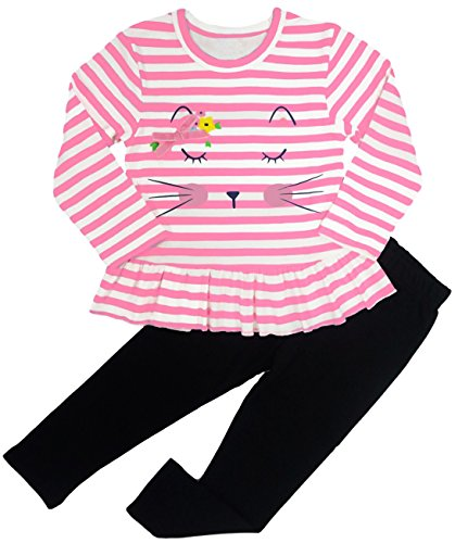 BomDeals Adorable Cute Toddler Baby Girl Clothing 2pcs Outfits (Age(4T), Strip/Pink) -