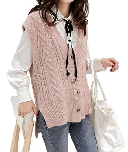(ジュンィ) レディース ニットベスト 無地 ゆったり セーター 袖なし カジュアル 通学 薄手 チョッキ 前開き