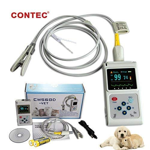 CONTEC Veterinary Handheld CMS60D-Vet Pulse Tester Pulse Oxygen Saturation and Pulse Rate Tongue Probe Pets/Animals/cat/Dog with PC Software by CONTEC