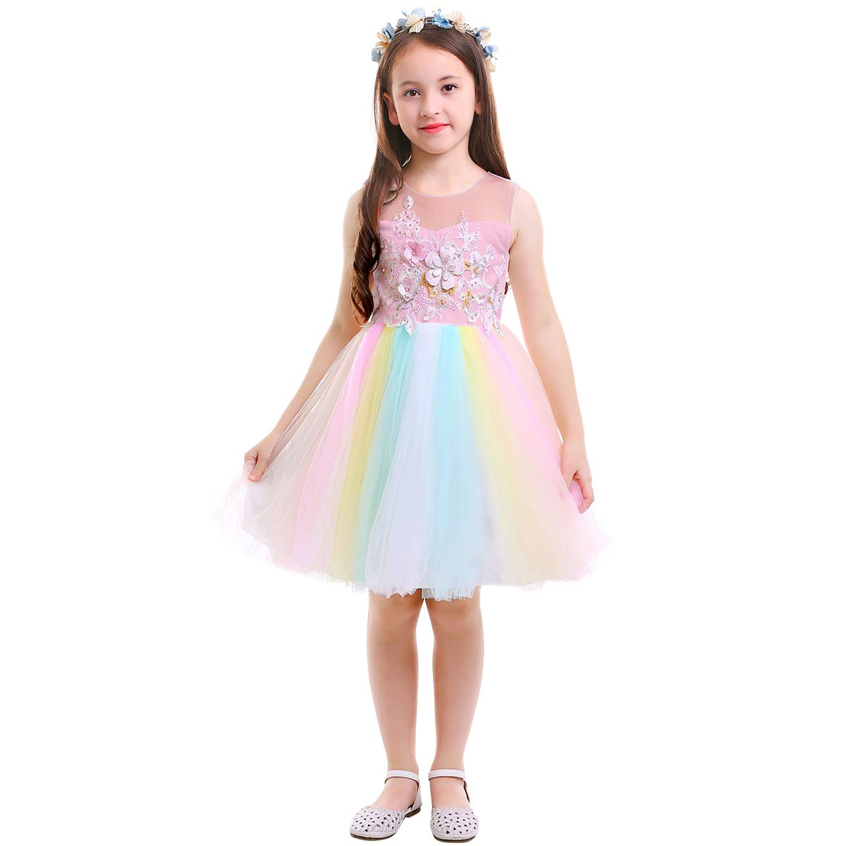 24a03345ac5e99 Amazon.com: Flower Girls Unicorn Rainbow Tulle Dress Birthday Party Pageant Kids  Princess Embroidery Floral Evening Gown Costume: Clothing