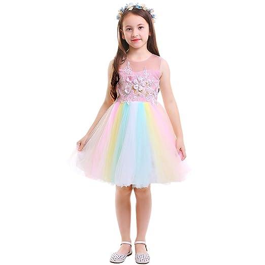 4291bad5 IMEKIS Girls Formal Dress Kids Princess Sleeveless Dress Round Neck Floral  Lace Mesh Cartoon Dress Casual