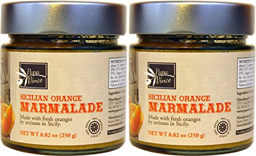 Papa Vince Orange Preserve Marmalade - fruit spread | NO CORN SYRUP | NO COMMERCIAL PECTIN | NO GMO - made from WHOLE FRUIT locally grown in Sicily by our family in Italy | 2-pack of 8.82 oz