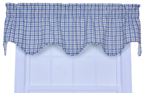 Ellis Curtain Bristol Collection Two-Tone Plaid Lined Scallop Valance Curtain, Blue