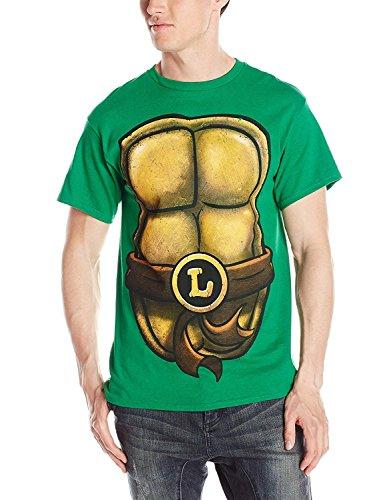 Teenage Mutant Ninja Turtles Men's TMNT Leonardo Front and Back Costume T-Shirt, Kelly Green, Large]()