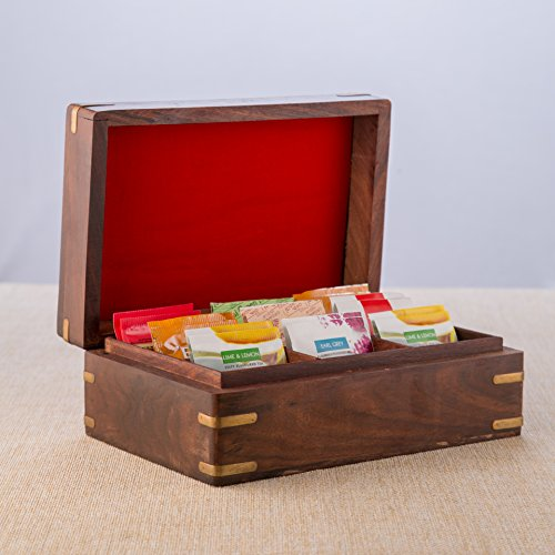Wooden Tea Caddy (Rusticity Indian Rosewood Antique Treasure Storage Chest Box for Condiment Spice&Jewellery/Vintage Rustic Keepsake Trinket Organizer w/ 9 Compartments/Handmade Decorative Sheesham Wood Caddy Tea Bag)
