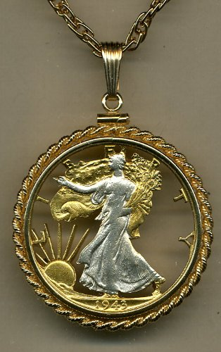 U.S. Walking Liberty Half Dollar Two Tone Coin Cut Out Pendant with 24