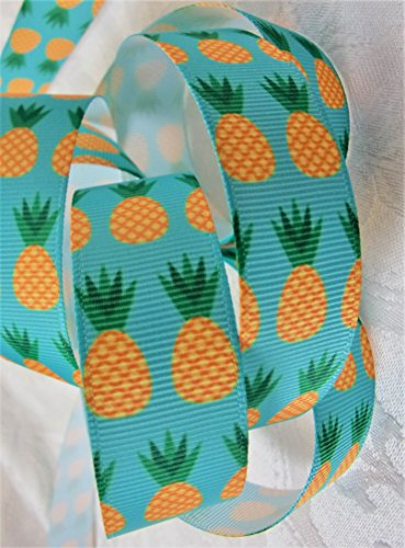Grosgrain Ribbon - Pineapple Print - 7/8 Inch Wide - 5 Yards - Hair Bows & Crafts