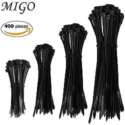 "Cable Zip Ties, 400 Piece 4"", 6"", 8"", 10"" Self-Locking Nylon Cable Zip Ties for Home Office Garden Garage Workshop Use (Black)"
