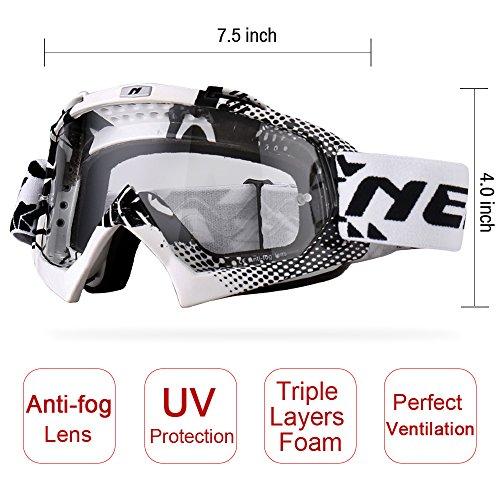 NENKI Motocross MX ATV Goggles NK-1019 For Off Road Dirt Bike Unisex Adult (White & Black,Clear Lens) by NENKI (Image #2)