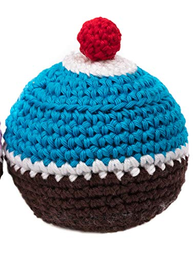 MICHI MICHI-SC31 Crochet Toy Cupcake Blue and Brown Crochet Dog Toy