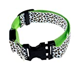 Pinleg Pets LED Dog Lights Leopard Flash Night Safety Waterproof Collar Makes Your Dog Visible Safe Seen 4 Colors Sizes (Green, S)