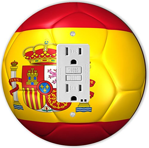 Rikki Knight RND-GFISINGLE-67 Spain Team World Cup Flag Soccer Ball Football Round Single GFI Light Switch Plate by Rikki Knight