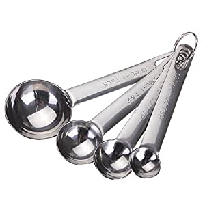 Lautechco® 4pcs Kitchen Stainless Steel Measuring Spoon Cup Tea Coffee Cooking Baking Scoop