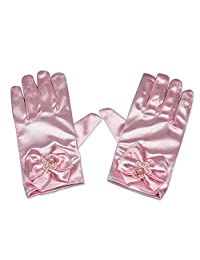 RUNHENG Flower Girl Stretchy Satin Bowknot Wrist Length Gloves, 16cm (Pink)