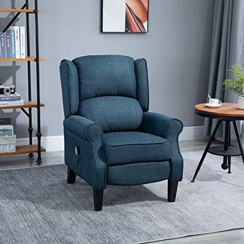 HOMCOM Heated Vibrating Linen Fabric Massage Recliner Chair Push-Back