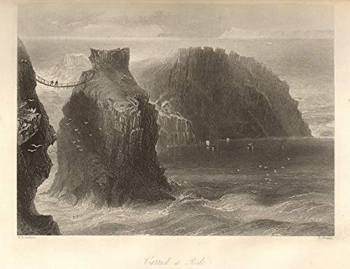 Carrick-a-Rede Rope Bridge, County Antrim. Ireland Ulster - 1843 - Old Print - Antique Print - Vintage Print - Printed Prints of Ireland (Carrick A Rede Rope Bridge County Antrim)