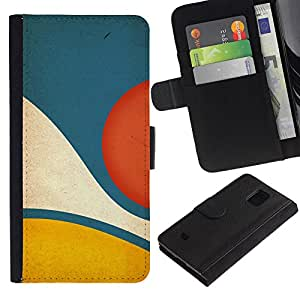 KingStore / Leather Etui en cuir / Samsung Galaxy S5 Mini, SM-G800 / Amarillo Azul pastel abstracta minimalista