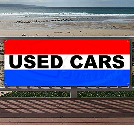 Store New Used Cars 13 oz Heavy Duty Vinyl Banner Sign with Metal Grommets Many Sizes Available Flag, Advertising