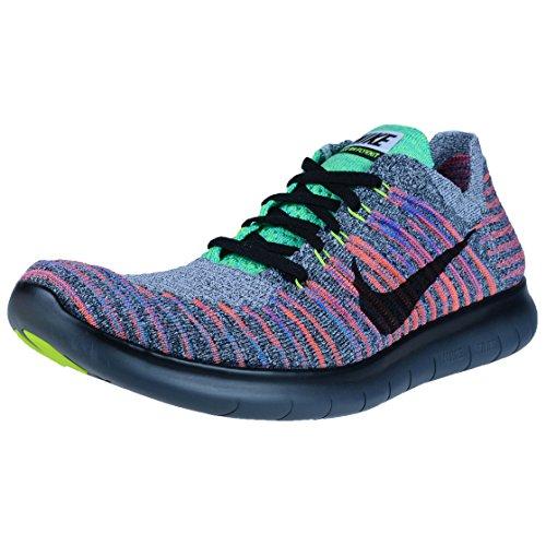 Zapatillas De Running Nike Hombres Free Rn Flyknit White / Black-total Crimson-blue Lagoon 12.0