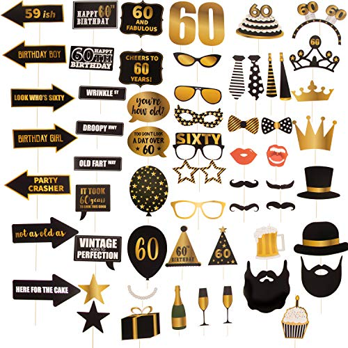 60th Birthday Party Photo Booth Props - 60-Piece Selfie Props for Her Him, Big 60 Birthday Decorations for Men and Women, Gold and Black]()