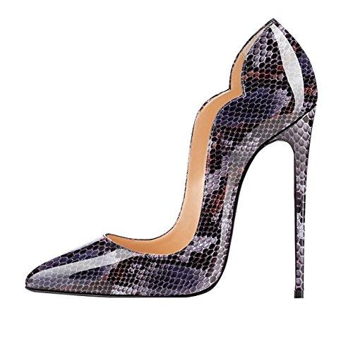 EDEFS Damen Spitze Zehe Schuhe 120mm High Heel Pumps Hohen Absätzen Geschlossen Abendschuhe Python-purple