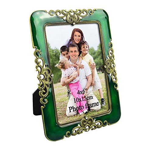 (PETAFLOP 4x6 Picture Frames Antique Jade Green Photo Frame for Anniversary Decorative Gifts)