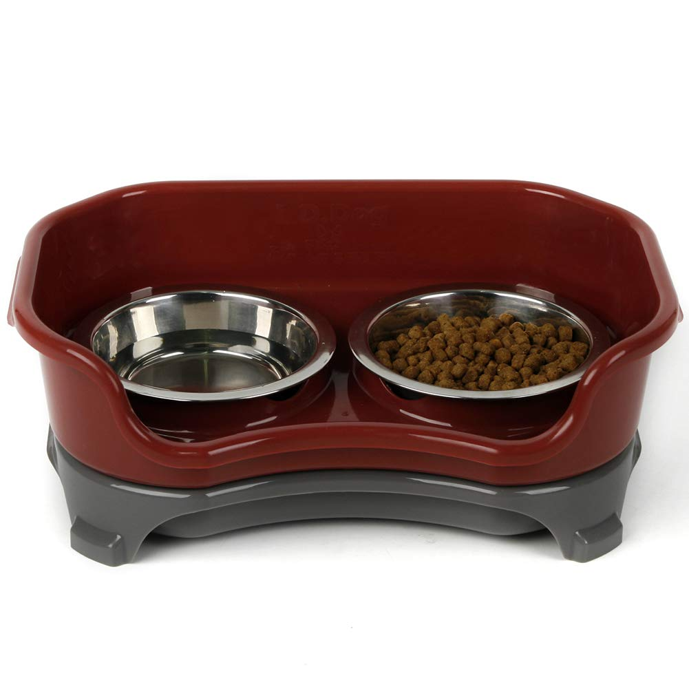 Brown Dog Bowl Pet Stainless Steel Rice Bowl Table Shatter-Resistant Double Bowl Detachable Cat Dog with Bracket Feeder