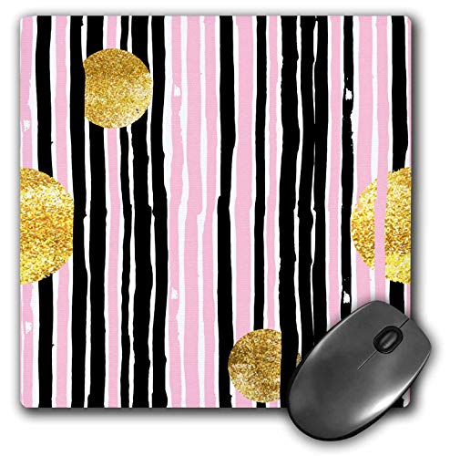 3dRose Anne Marie Baugh - Patterns - Pink and Gray Hand Painted Stripes with Gold Circles - Mousepad (mp_252978_1)