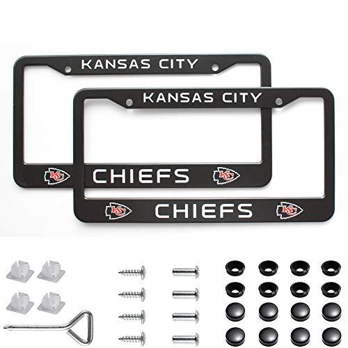 Matte Aluminum License Plate Frame with Black Screw Caps, 2Pcs 2 Holes Black Licenses Plates Frames For New Orleans Saints, Car Licenses Plate Covers Holders for US Vehicles (Kansas City Chiefs)