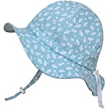 Twinklebelle Sun Hat, Adjustable Head and Neck Strap,great Gift for Kid (S: 0 - 9m, Mint Flower) by Twinklebelle
