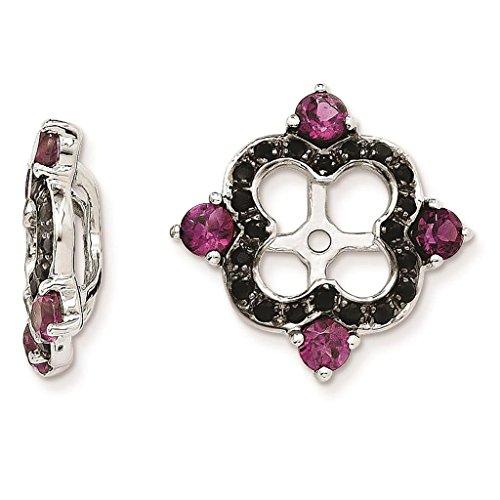 925 Sterling Silver Rhodium-plated Polished & Textured Black Sapphire & Rhodalite Garnet Earring - Garnet Earring Rhodalite
