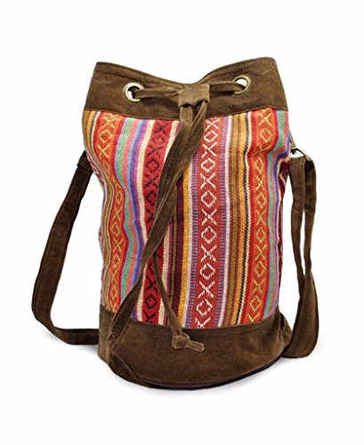 (Mato Boho Drawstring Bucket Bag Bohemian Woven Tribal Aztec Baja Pattern Crossbody Shoulder Side Purse Suede)
