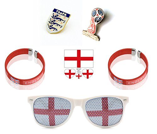 (World Cup 2018 Deluxe 6 pc Fan Set - Wristbands, Temporary Tatoo Stickers, National Pin and World Cup Pin with Bonus Keychain (England))
