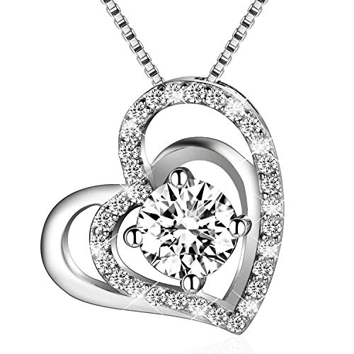 BLOVIN 925 Sterling Silver Birthstone Double Love Heart Pendant Necklace Gifts for Women,18 inch Box Chain ()