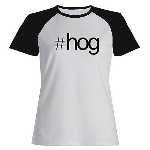 Idakoos Hashtag Hog - Animali - Maglietta Raglan Donna