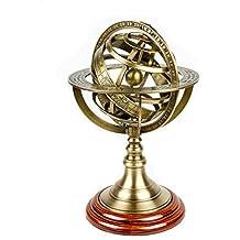 Antique Vintage Zodiac Armillary Brass Sphere Globe Wooden Display | Pirate's Antique Ship Decor | Nagina International
