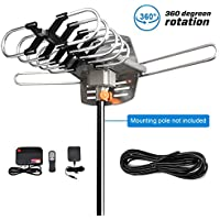 HDTV Antenna-SKYTV Amplified Digital TV Antenna 150 Miles Range Attic HD Antenna Long Range With 360° Rotation -Wireless Remote for FM/VHF/UHF Channels(Without Pole)