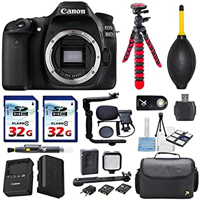 Canon EOS 80D 24.2MP Digital SLR Camera Body Bundle Accessories (13- Items)