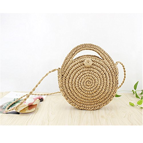 Summer Beach Bag Weave Shoulder Light Crossbody Purse Straw and Brown Bag Round Handbags Women XqwHw08
