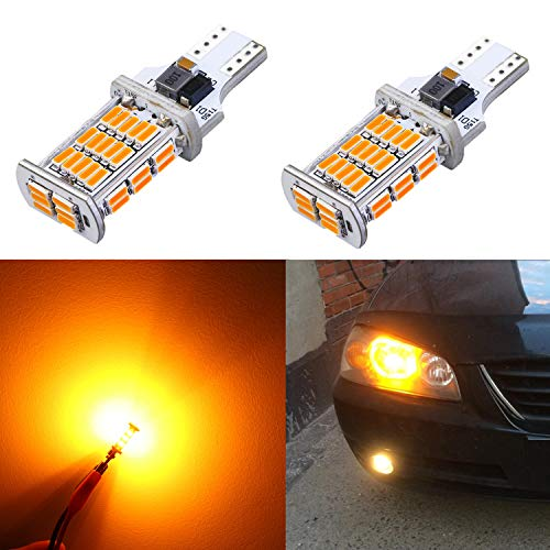 Alla Lighting 2600lm CANBUS 912 921 LED Back Up Light Bulbs Xtreme Super Bright LED 921 Bulb High Power 4014 48-SMD T15 906 W16W 921 LED Bulbs Reverse Signal Lights, Amber Yellow (Set of 2) ()