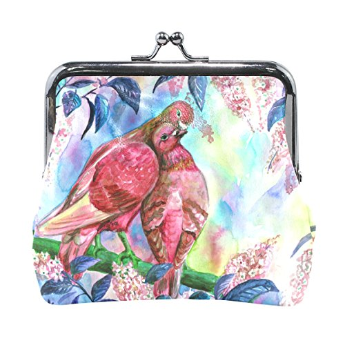 Ethel Ernest Couple Doves Kissing Coin Wallets Mini Purse for Womens Girls by COWETS
