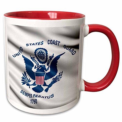 Coast Guard Mug (3dRose 239769_5 Flag of the US Coast Guard Waving in the Wind Two Tone Mug, 11 oz, Red/White)