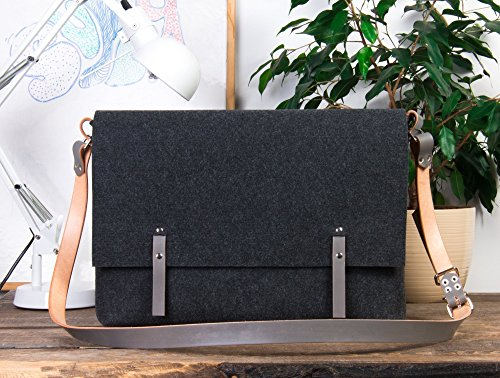 Macbook pro 17 bag, large messenger bag, leather laptop bag, messenger for men, crossbody laptop bag, 17 laptop bag, macbook pro 17, felt messenger by POPEQ Handmade Bags