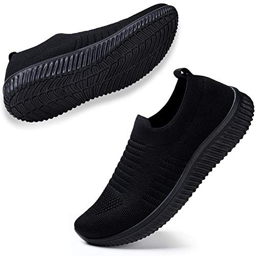 HKR Women Athletic Walking Shoes Breathable Mesh Knit Gym Slip on Sneakers Lightweight Workout Jogging Tennis Shoes 9 US Black(WD003quanhei41)