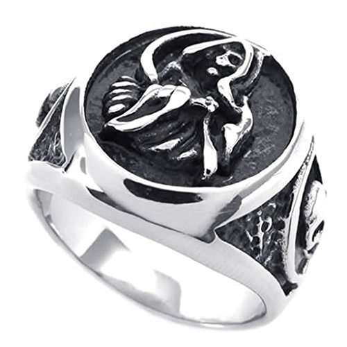 [Aomily Jewelry, Mens Finger Rings Stainless Steel Black Silver Round Circle Size 11] (King Triton Costume For Kids)