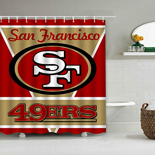(Sorcerer Custom Colourful San Francisco 49ers American Tootball Team Shower Curtain Polyester Waterproof Proof for Bathroom Decoration Set with Hooks 66x72 Inches)