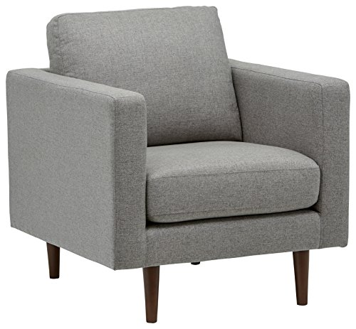 Rivet Revolve Modern Accent Chair, Grey Weave