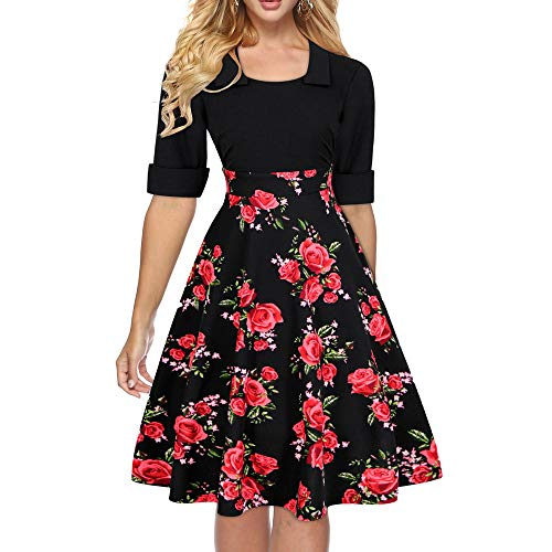 - Women's Vintage Patchwork Pockets Half Sleeve Puffy Swing Casual Party Dress 2472 (Black, L)