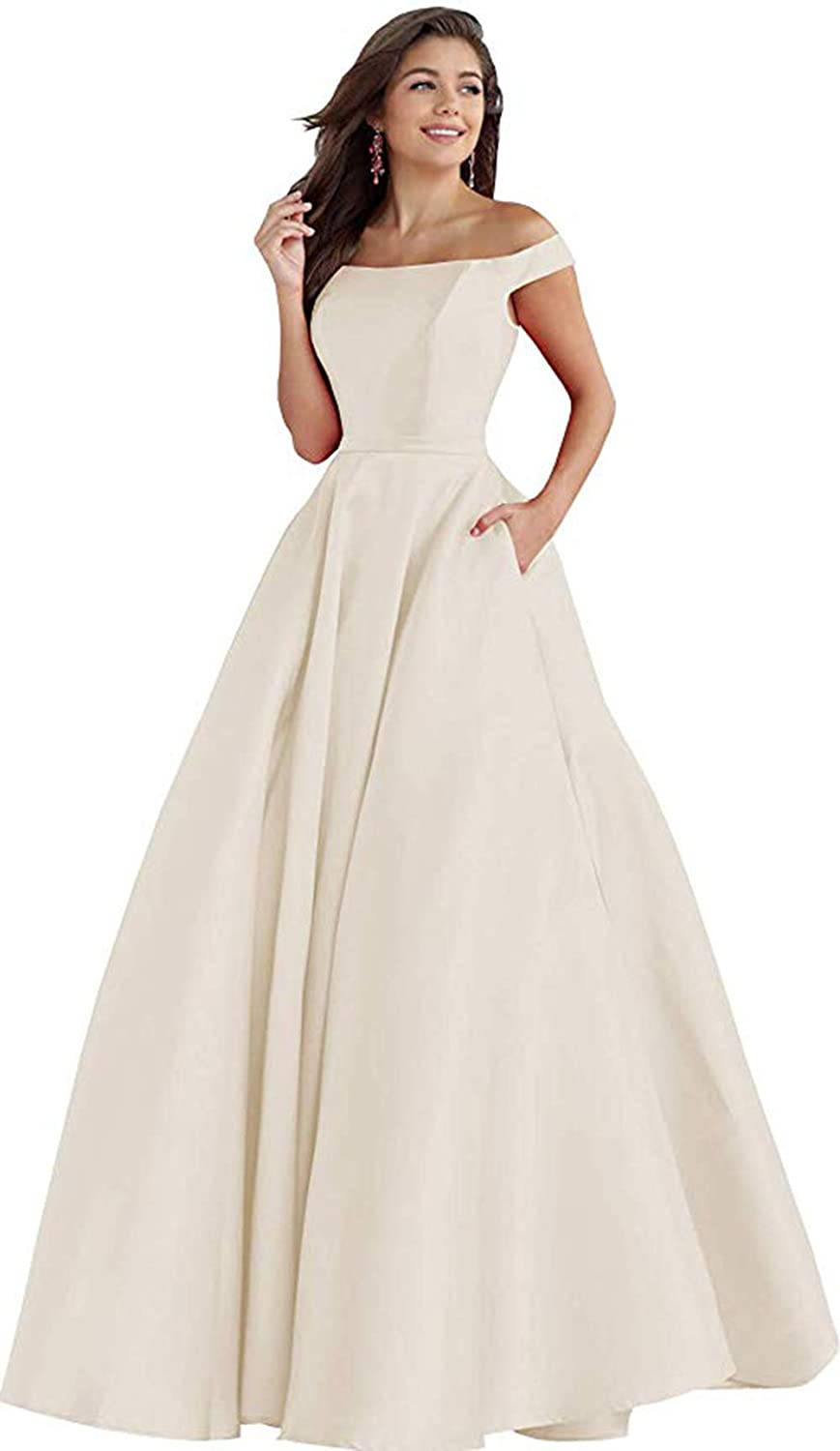 Champagne Rmaytiked Womens Off The Shoulder Long Prom Dresses Satin A Line Formal Evening Ball Gowns with Pockets 2019 New
