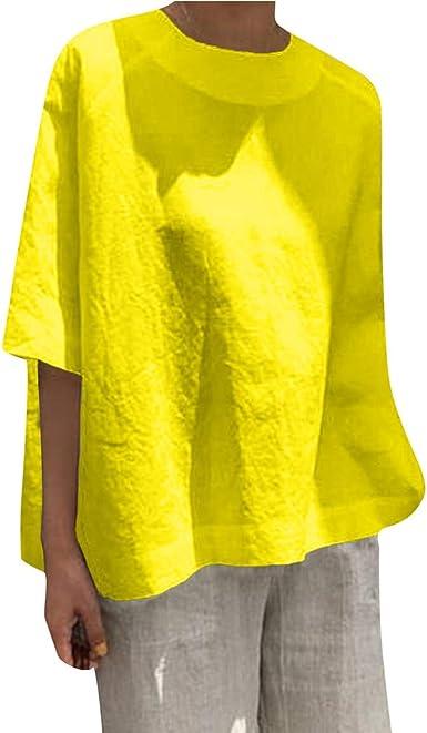 VEMOW Camisetas Mujer Casual Algodón Suelto de Lino Patchwork Plus ...